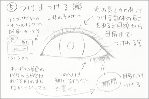 蒼依monako流アイメイク手書きのイラスト手順その6