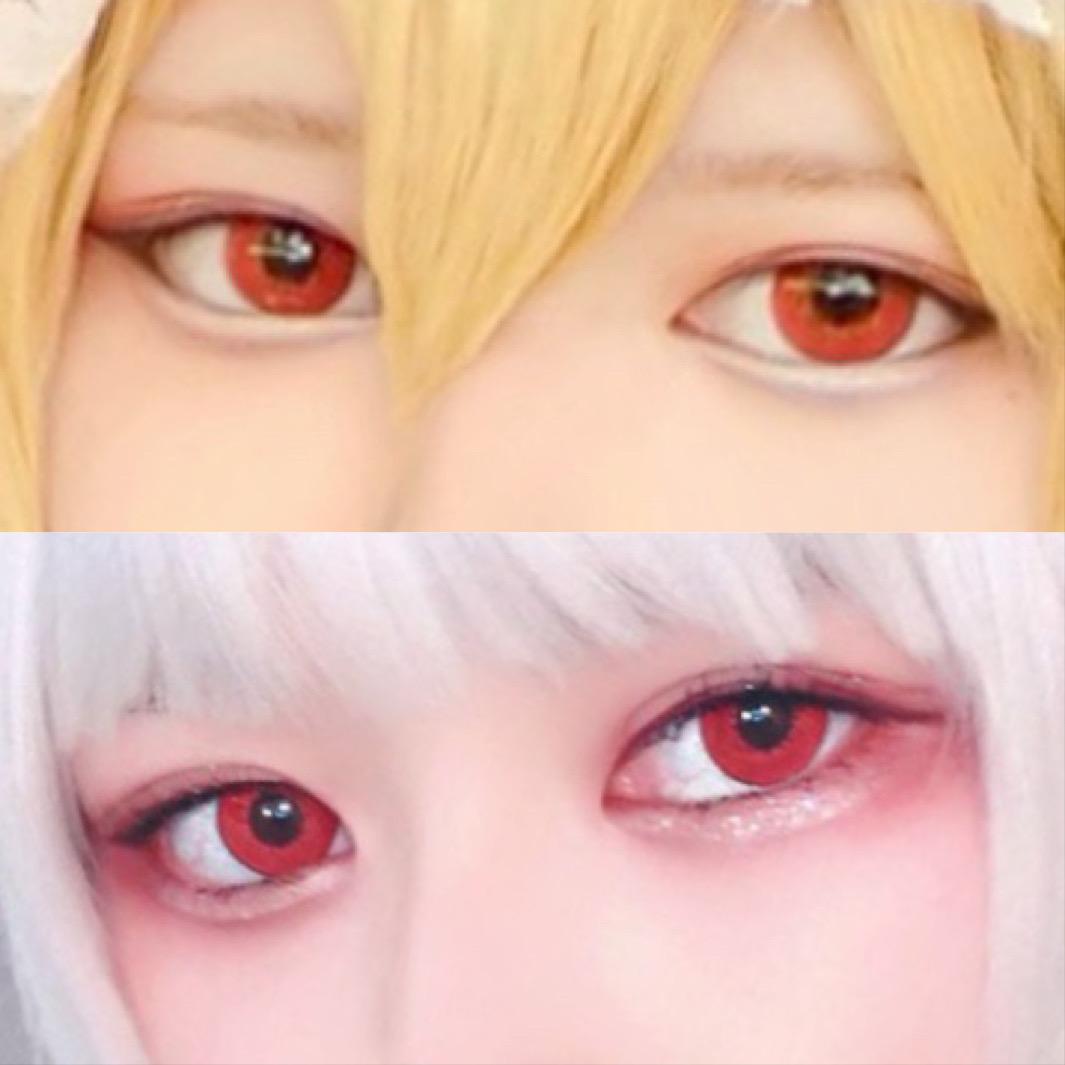 東方projectレミリア・スカーレットちゃん、藤原妹紅ちゃんのコスプレをする時に着用したカラコンの目元