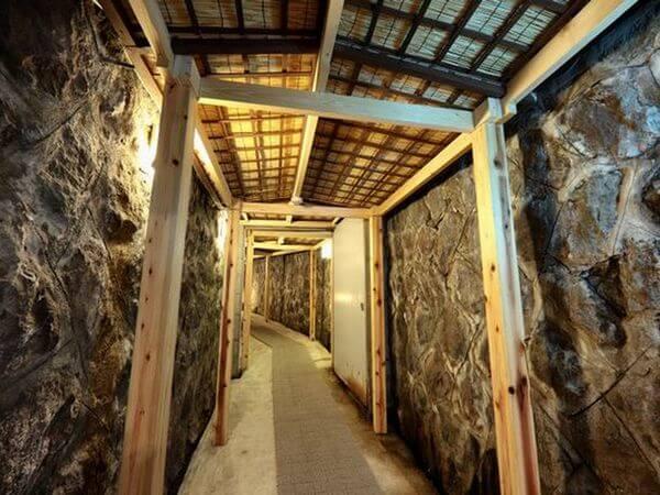 菱野温泉薬師館の大浴場のコスプレでの撮影も可能な岩場の通路