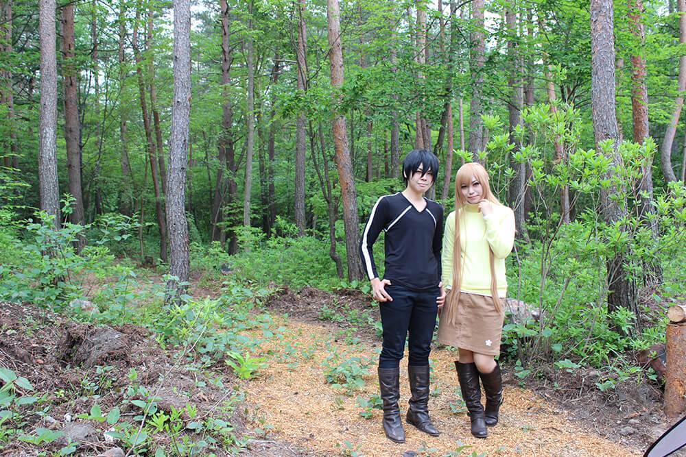 貸別荘ルネス軽井沢でコスプレ撮影する2人