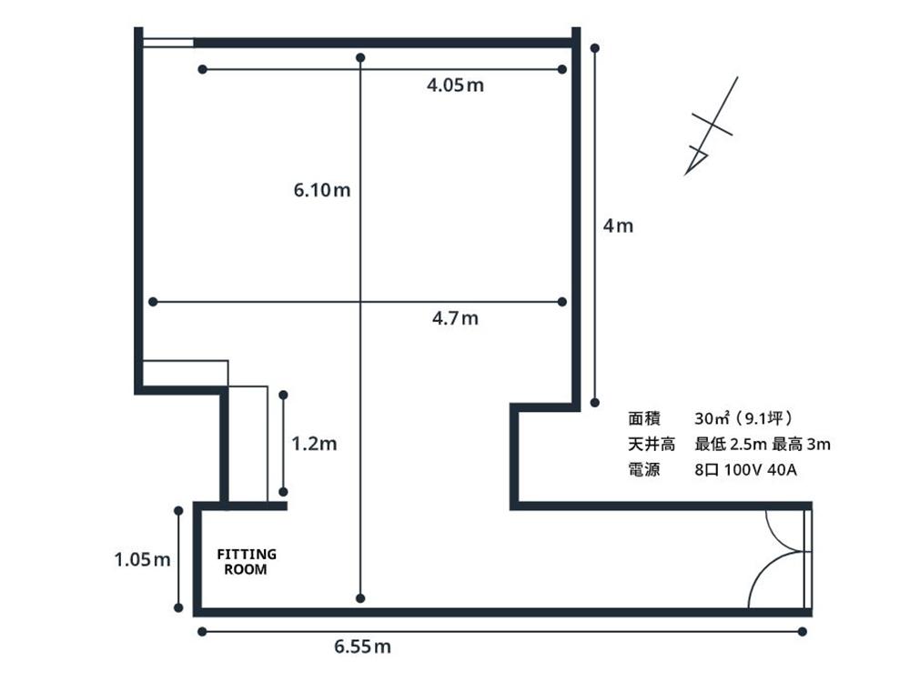 川崎の格安白ホリスタジオ「BORDERLESS」の平面図
