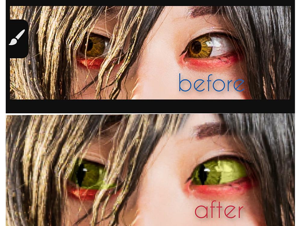 Adobe Photoshop Fixで目の形を猫目に加工したビフォーアフター