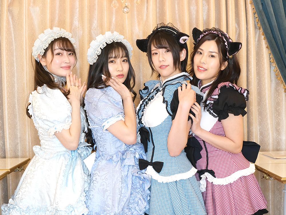 コンカフェに初挑戦する人気グラビアアイドルの内田瑞穂、宮永薫、悠木ゆうか、谷かえ