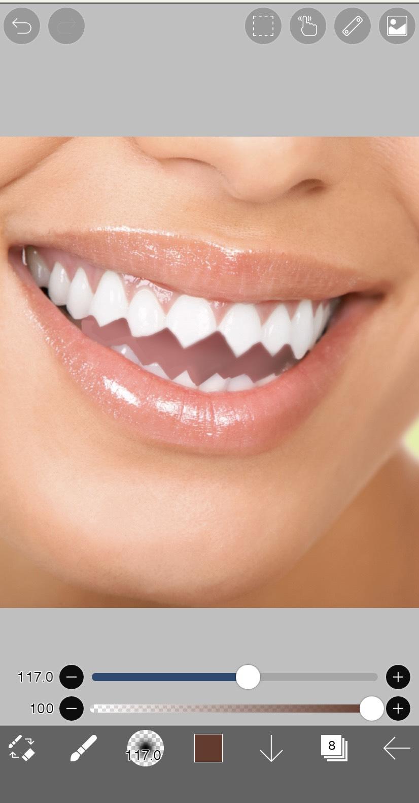 アプリ「アイビスペイントX」でギザ歯の輪郭を軽くぼかした状態