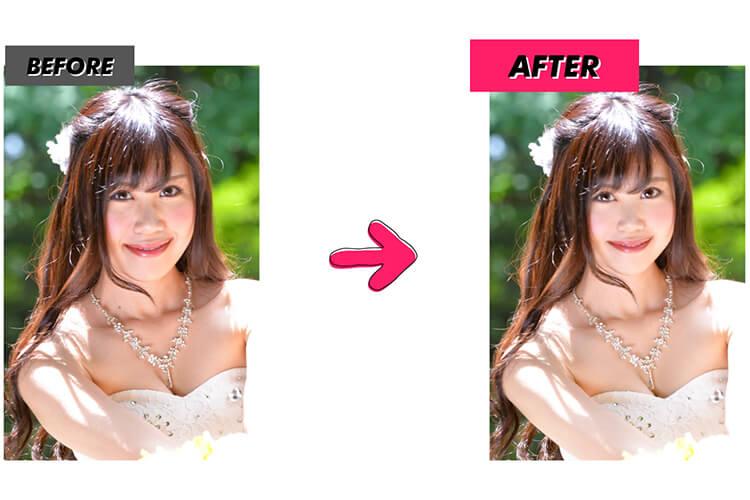写真加工アプリのBeautyPlusでビフォーアフター比較