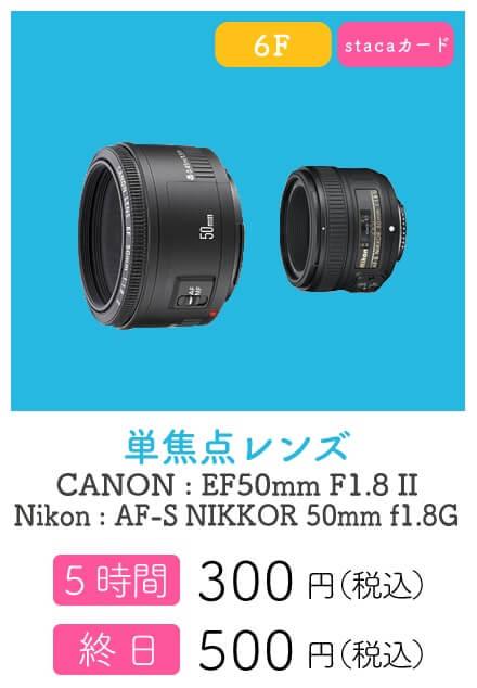 ハコスタジアム大阪の有料機材レンタルできる単焦点レンズ