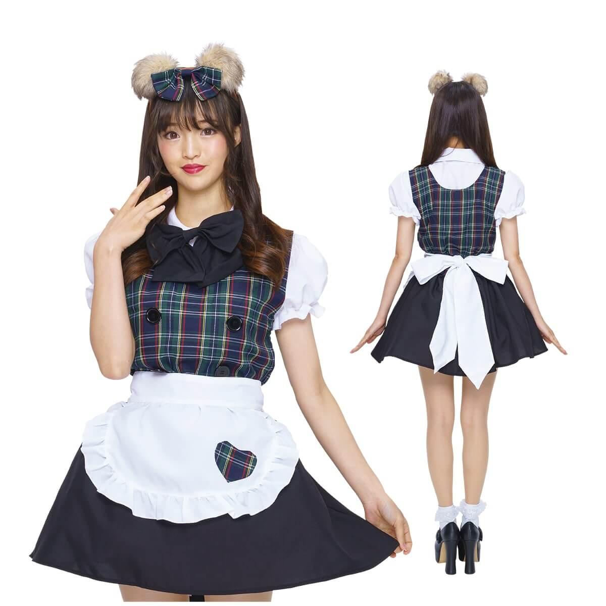 PUREネット通販で購入可能なクマさんの耳カチューシャ付きのチェック柄メイド服