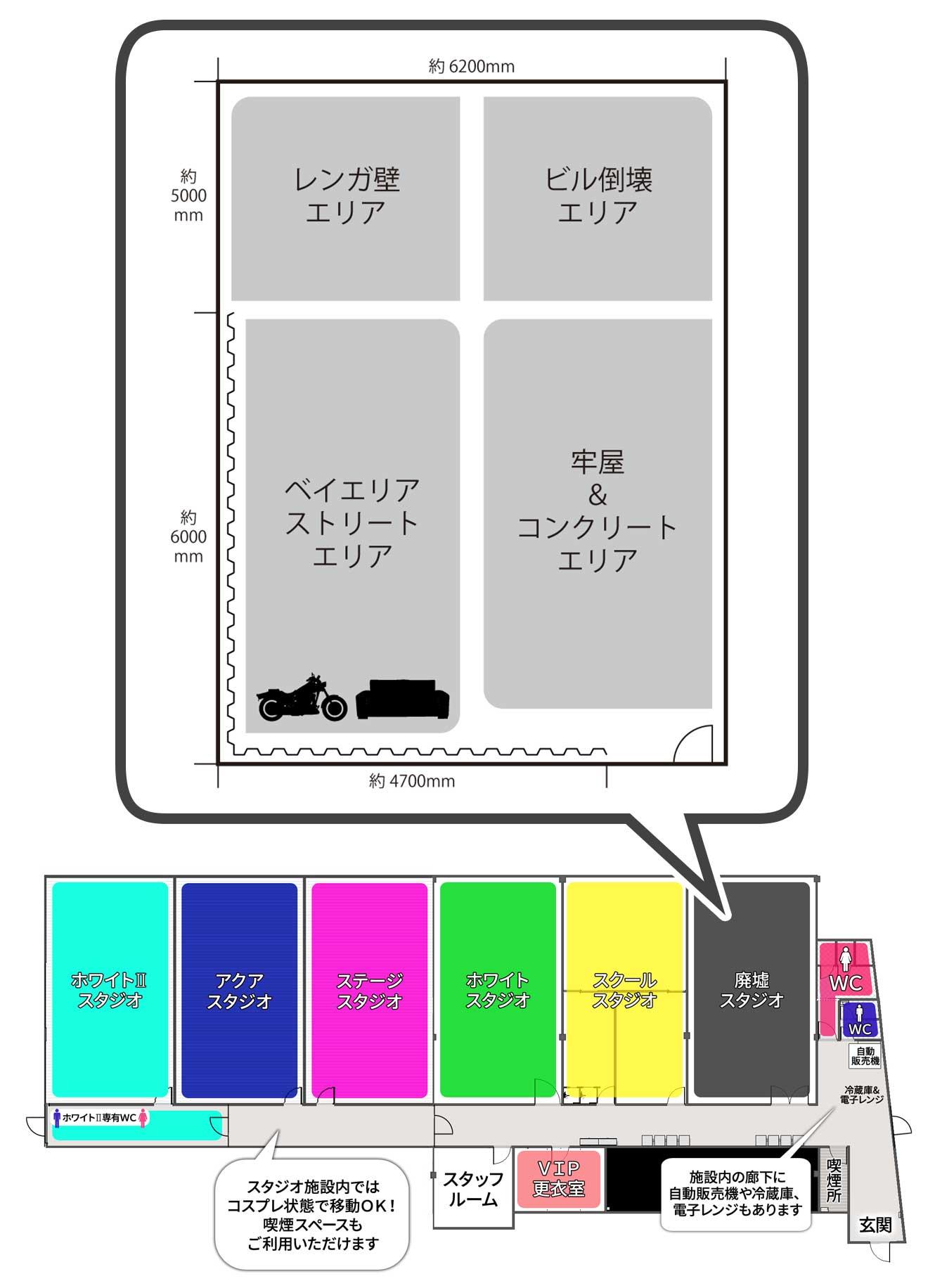 撮影スタジオ「スタジオクオリア新大阪店」の廃墟スタジオのブース03