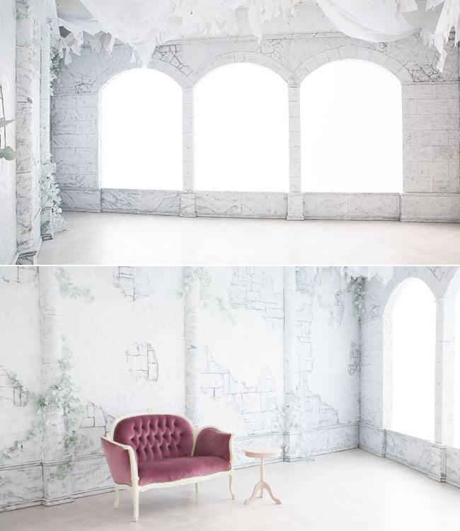 撮影スタジオ「スタジオクオリア大阪平野店」の白廃墟スタジオのブース01